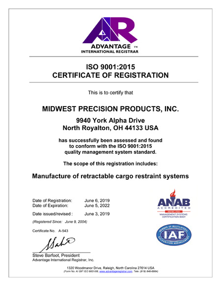 Midwest Precision Products, Inc  - ISO Registration